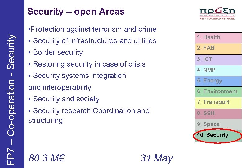 Security – open Areas FP 7 – Co-operation - Security • Protection against terrorism