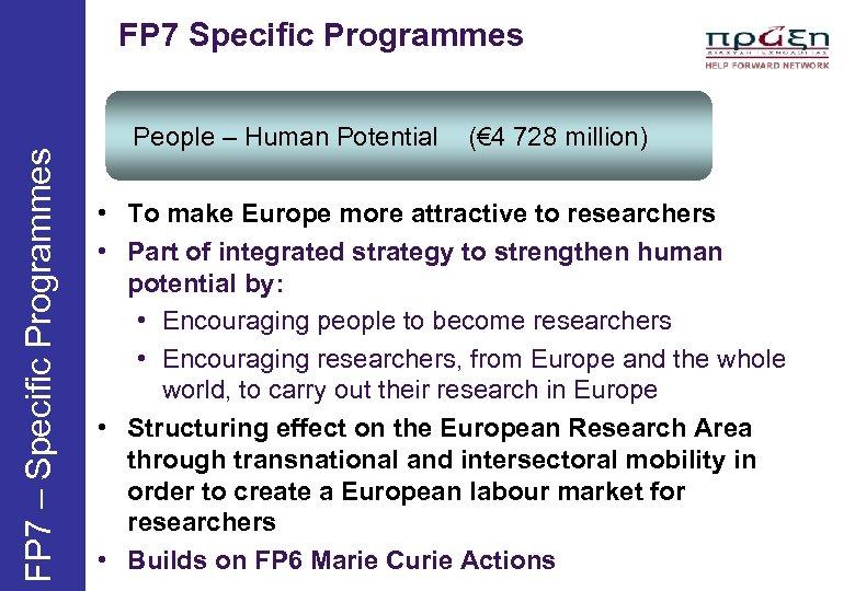 FP 7 – Specific Programmes FP 7 Specific Programmes People – Human Potential (€