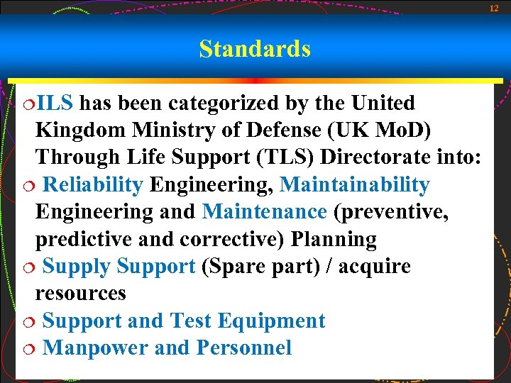 12 Standards ¦ILS has been categorized by the United Kingdom Ministry of Defense (UK