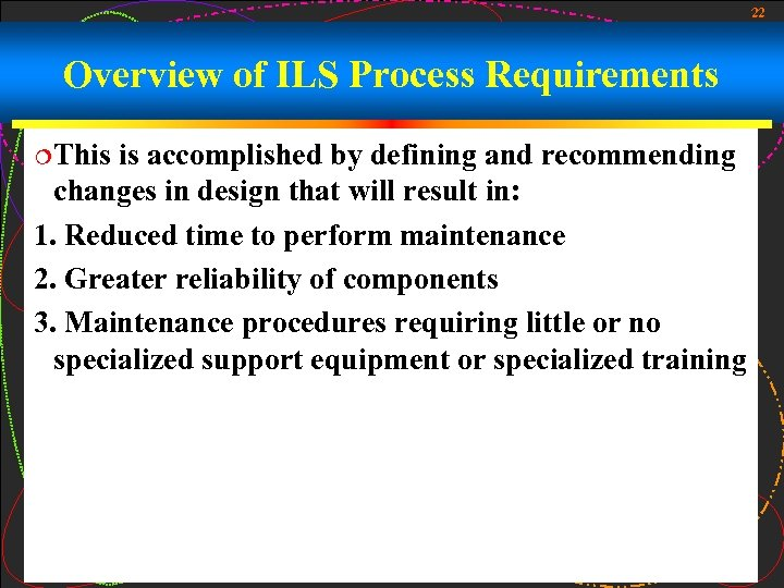 22 Overview of ILS Process Requirements ¦This is accomplished by defining and recommending changes