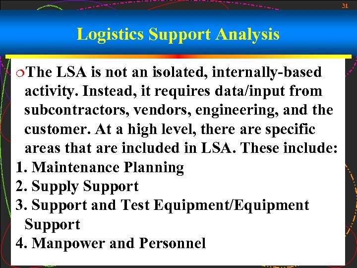 31 Logistics Support Analysis ¦The LSA is not an isolated, internally-based activity. Instead, it