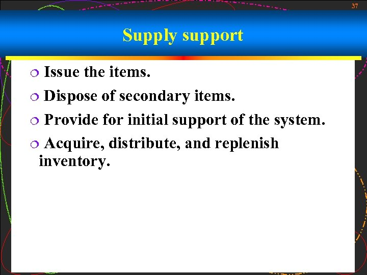 37 Supply support Issue the items. ¦ Dispose of secondary items. ¦ Provide for