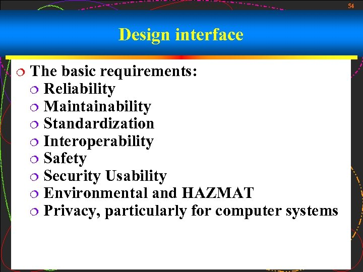 54 Design interface ¦ The basic requirements: ¦ Reliability ¦ Maintainability ¦ Standardization ¦