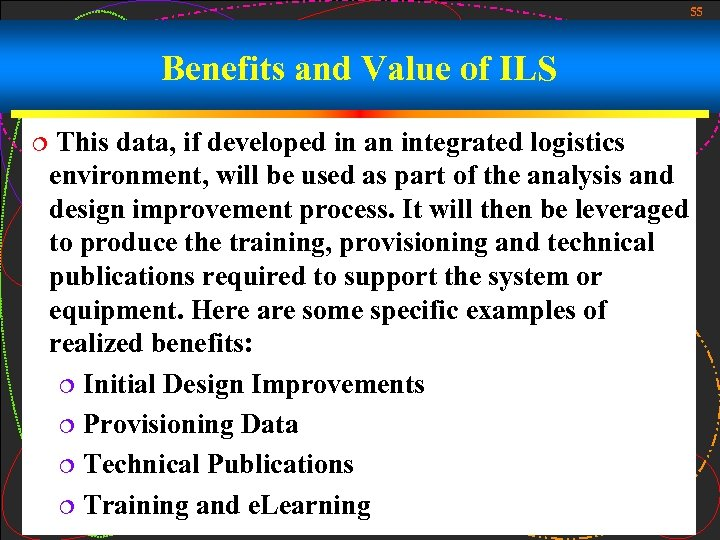 55 Benefits and Value of ILS ¦ This data, if developed in an integrated