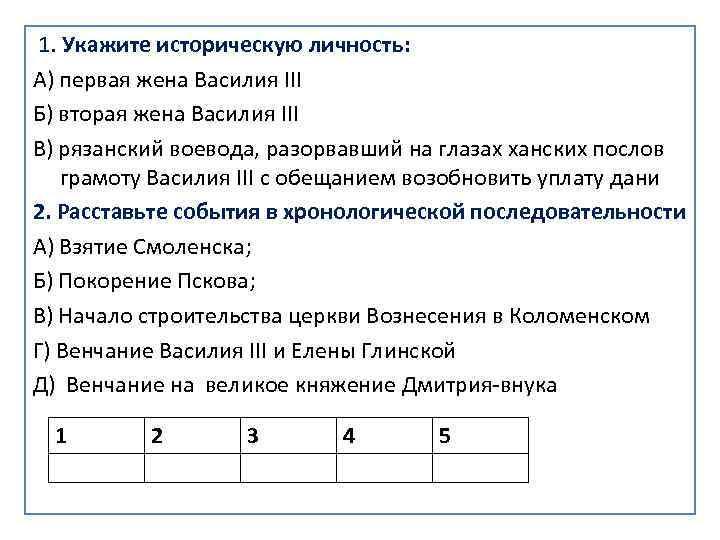 1. Укажите историческую личность: А) первая жена Василия III Б) вторая жена Василия III