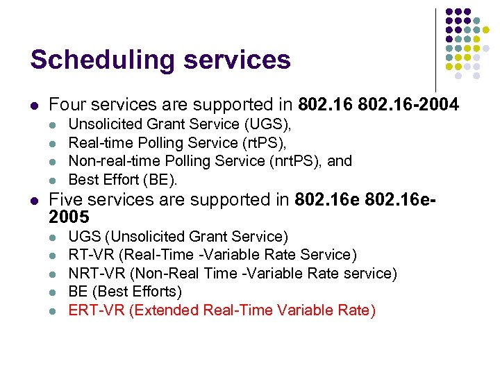 Scheduling services l Four services are supported in 802. 16 -2004 l l l
