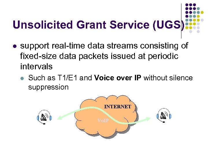 Unsolicited Grant Service (UGS) l support real-time data streams consisting of fixed-size data packets