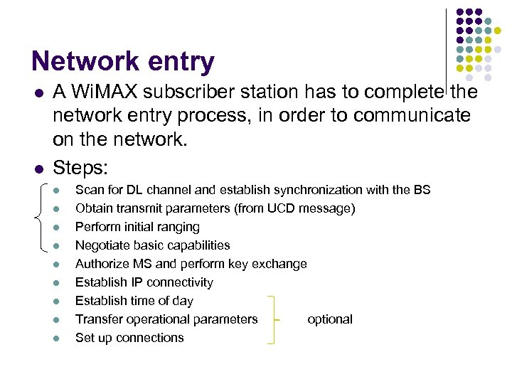 Network entry l l A Wi. MAX subscriber station has to complete the network