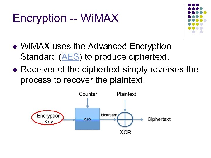 Encryption -- Wi. MAX l l Wi. MAX uses the Advanced Encryption Standard (AES)