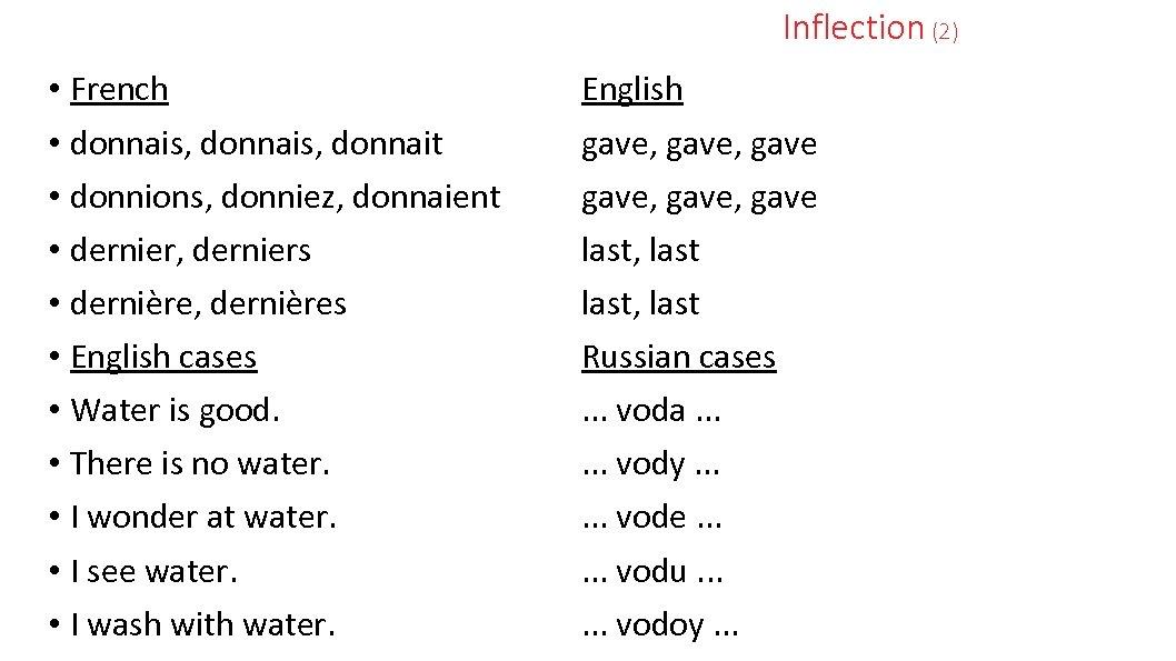 Inflection (2) • French • donnais, donnait • donnions, donniez, donnaient • dernier, derniers