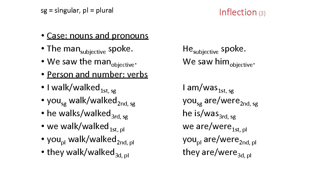 sg = singular, pl = plural • Case: nouns and pronouns • The mansubjective