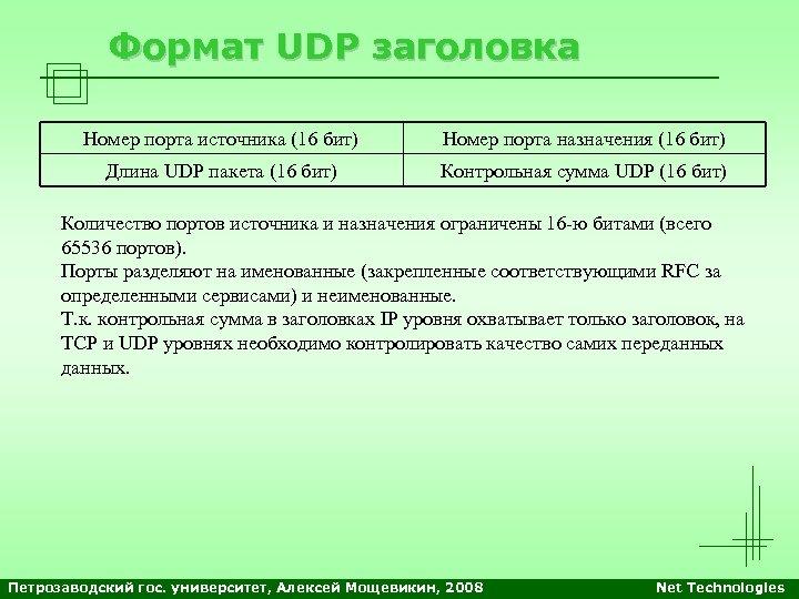 Формат UDP заголовка Номер порта источника (16 бит) Номер порта назначения (16 бит) Длина