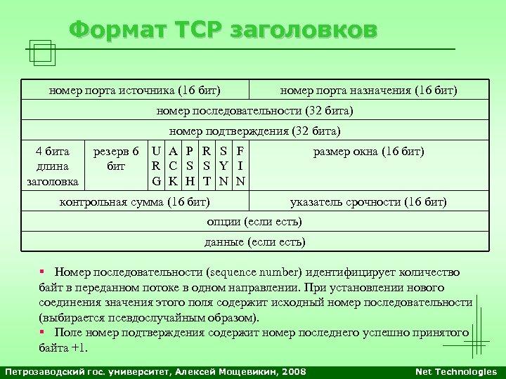 Формат TCP заголовков номер порта источника (16 бит) номер порта назначения (16 бит) номер
