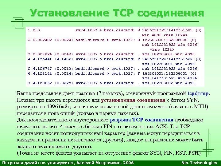 Установление TCP соединения 1 0. 0 svr 4. 1037 > bsdi. discard: S 1415531521: