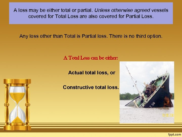 A loss may be either total or partial. Unless otherwise agreed vessels covered for