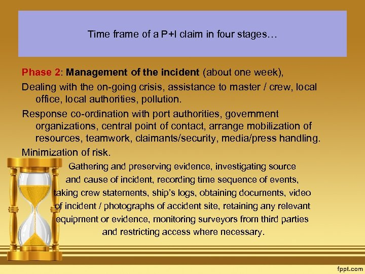 Time frame of a P+I claim in four stages… Phase 2: Management of the