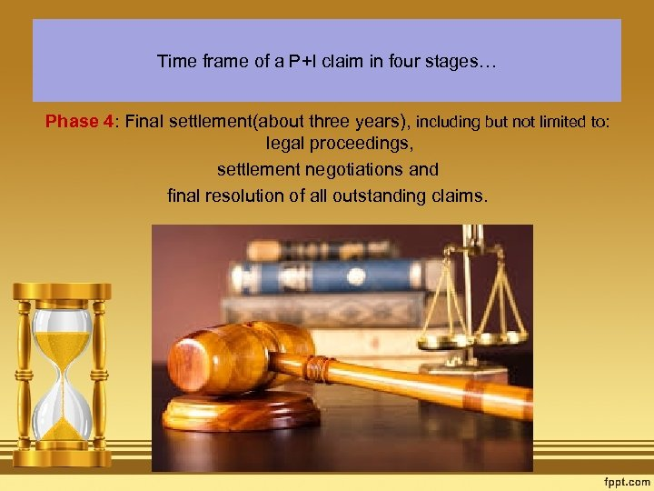 Time frame of a P+I claim in four stages… Phase 4: Final settlement(about three