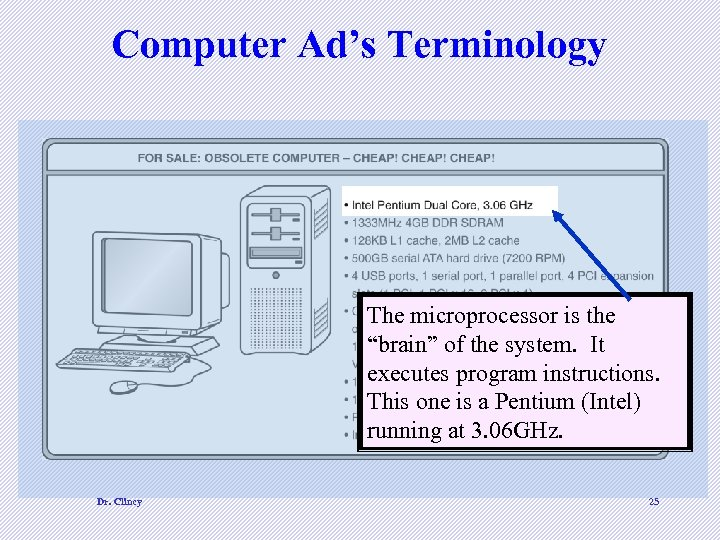 """Computer Ad's Terminology The microprocessor is the """"brain"""" of the system. It executes program"""