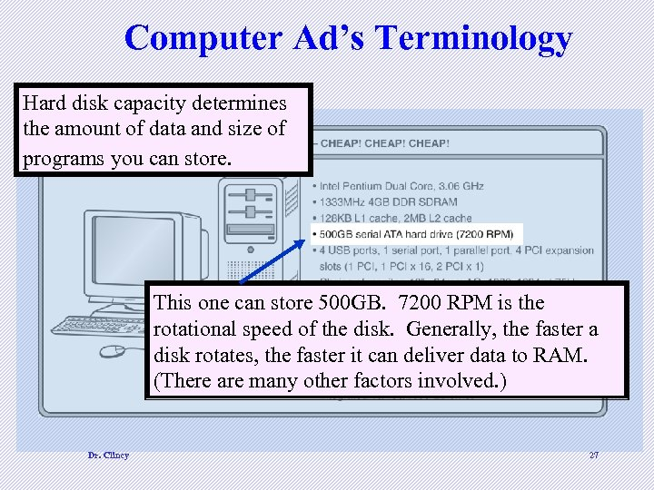 Computer Ad's Terminology Hard disk capacity determines the amount of data and size of