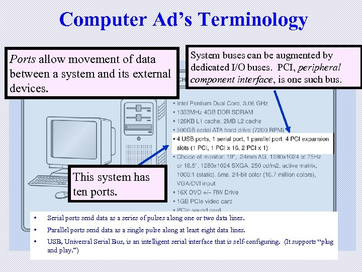 Computer Ad's Terminology Ports allow movement of data between a system and its external