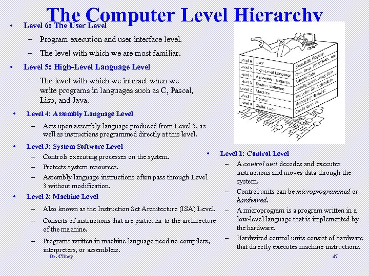 The Computer Level Hierarchy • Level 6: The User Level – Program execution and