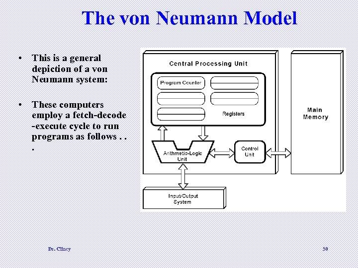 The von Neumann Model • This is a general depiction of a von Neumann