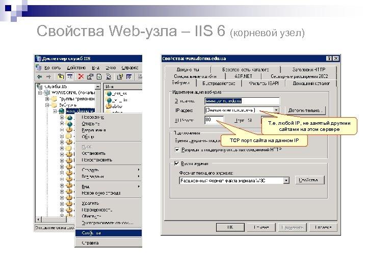 Свойства Web-узла – IIS 6 (корневой узел) Т. е. любой IP, не занятый другими