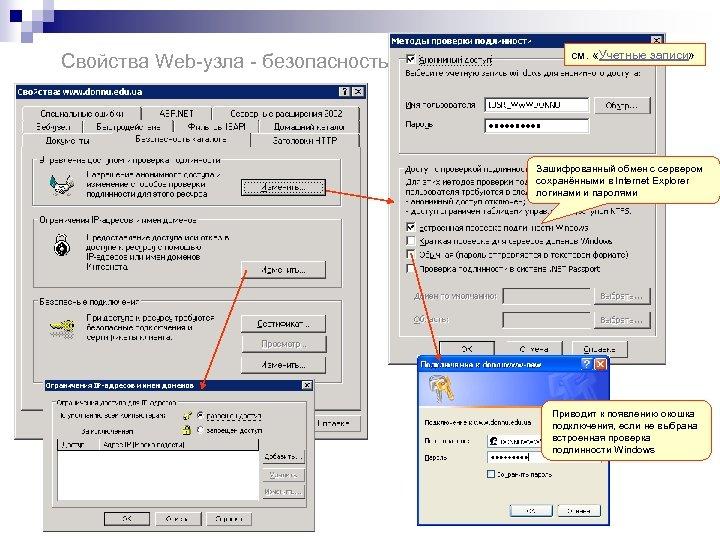 Свойства Web-узла - безопасность см. «Учетные записи» Зашифрованный обмен с сервером сохранёнными в Internet