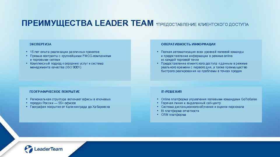 ПРЕИМУЩЕСТВА LEADER TEAM *ПРЕДОСТАВЛЕНИЕ КЛИЕНТСКОГО ДОСТУПА ЭКСПЕРТИЗА • 15 лет опыта реализации различных проектов