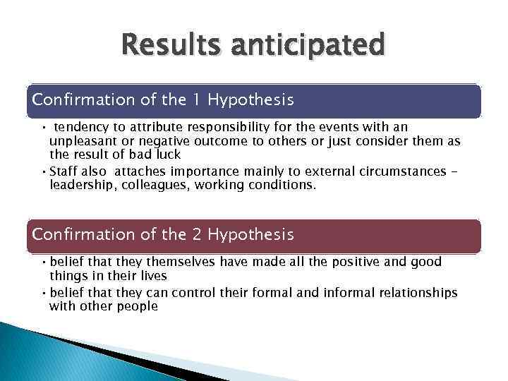 Results anticipated Confirmation of the 1 Hypothesis • tendency to attribute responsibility for the