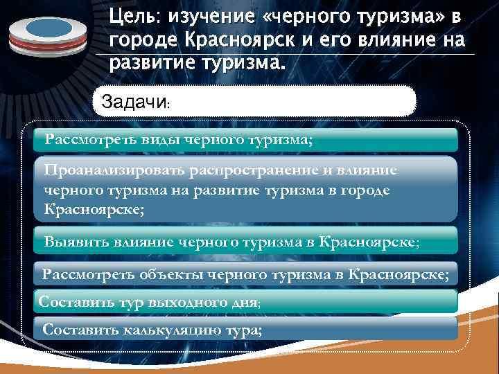 LOGO Цель: изучение «черного туризма» в городе Красноярск и его влияние на развитие туризма.
