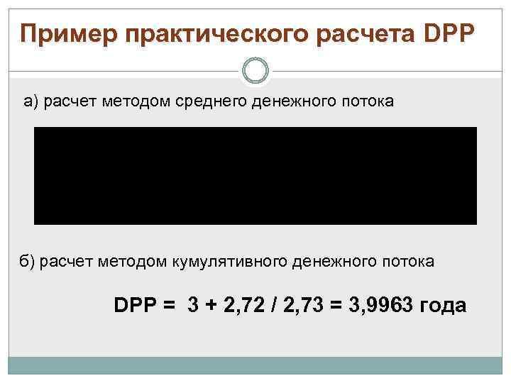 Пример практического расчета DPP а) расчет методом среднего денежного потока б) расчет методом кумулятивного
