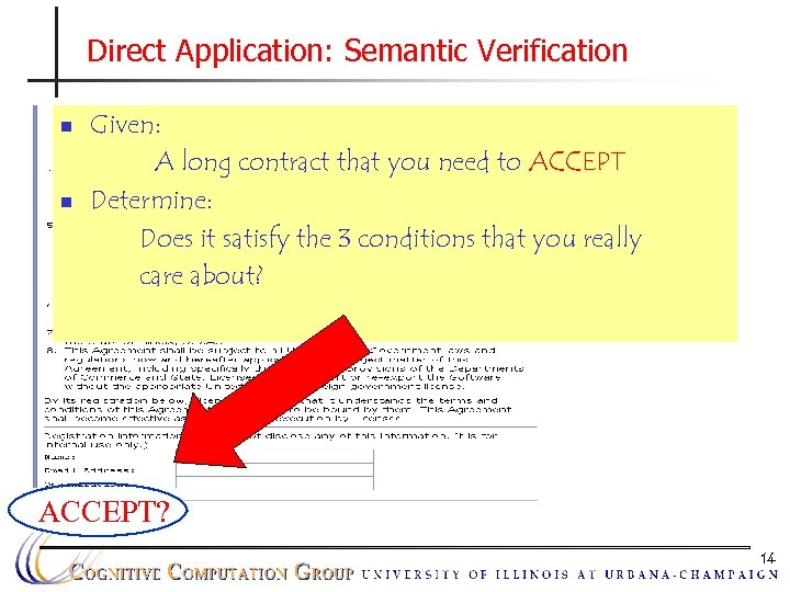 Direct Application: Semantic Verification n n Given: A long contract that you need to