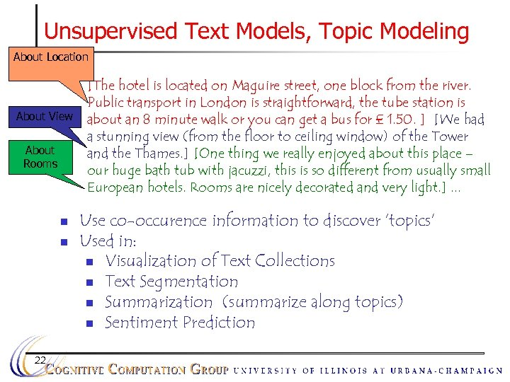 Unsupervised Text Models, Topic Modeling About Location n About View About Rooms n n
