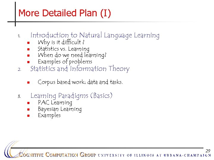 More Detailed Plan (I) Introduction to Natural Language Learning 1. n n 2. n