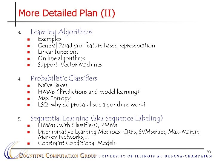 More Detailed Plan (II) Learning Algorithms 3. n n n Examples General Paradigm: feature