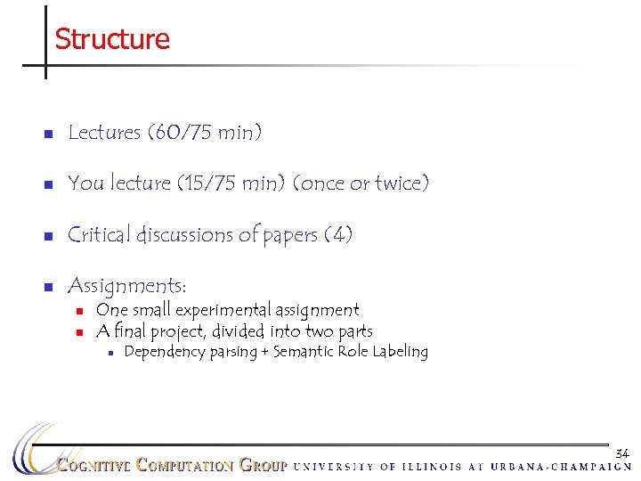 Structure n Lectures (60/75 min) n You lecture (15/75 min) (once or twice) n