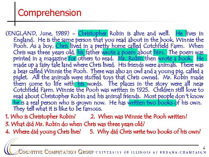 Comprehension (ENGLAND, June, 1989) - Christopher Robin is alive and well. He lives in