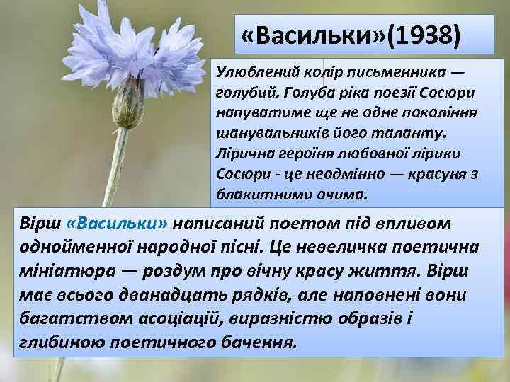 «Васильки» (1938) Улюблений колір письменника — голубий. Голуба ріка поезії Сосюри напуватиме ще