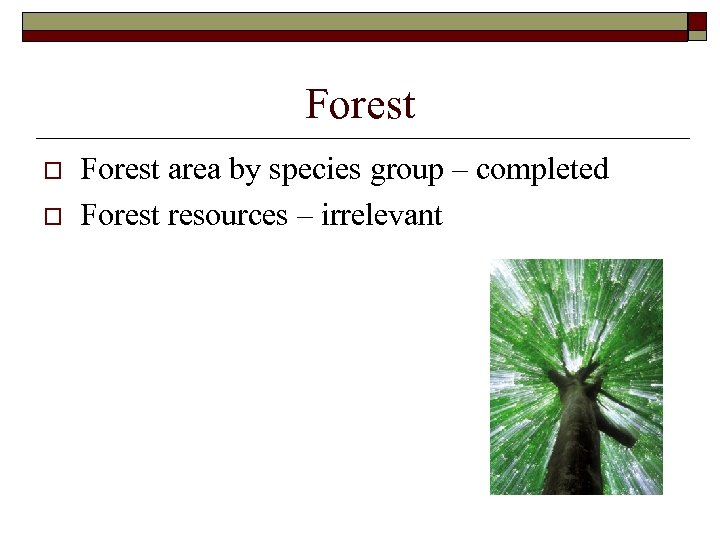 Forest o o Forest area by species group – completed Forest resources – irrelevant