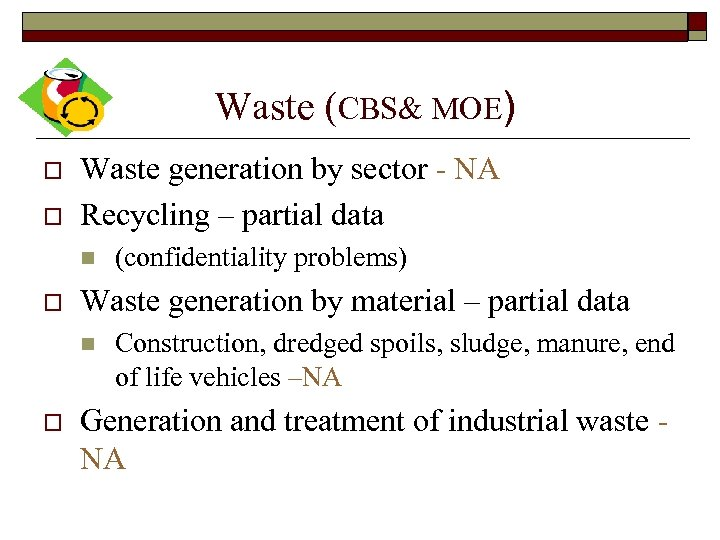 Waste (CBS& MOE) o o Waste generation by sector - NA Recycling – partial