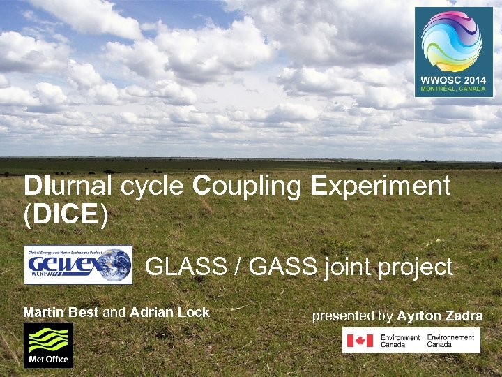 DIurnal cycle Coupling Experiment (DICE) GLASS / GASS joint project Martin Best and Adrian