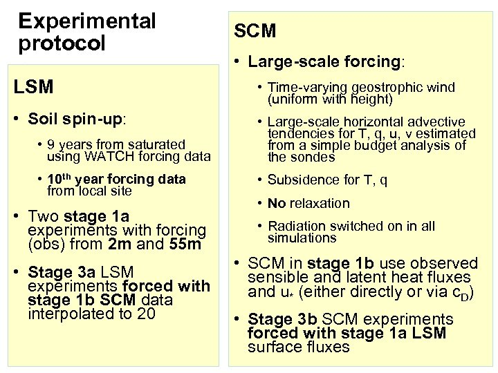 Experimental protocol SCM • Large-scale forcing: LSM • Time-varying geostrophic wind (uniform with height)