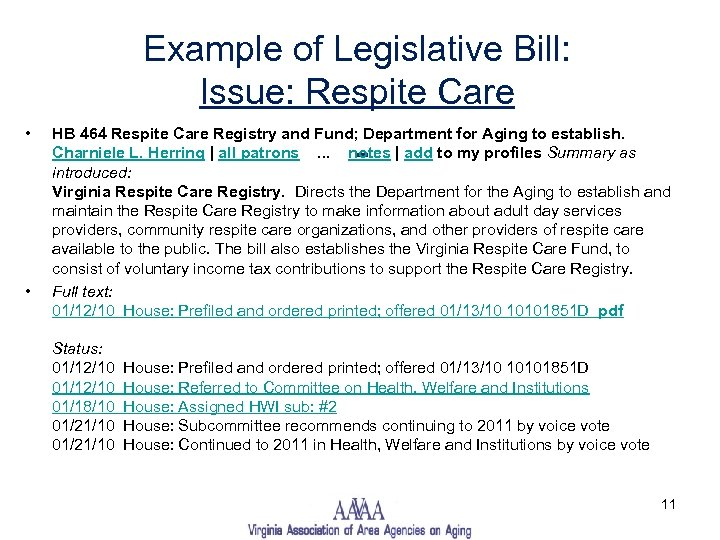 Example of Legislative Bill: Issue: Respite Care • • HB 464 Respite Care Registry