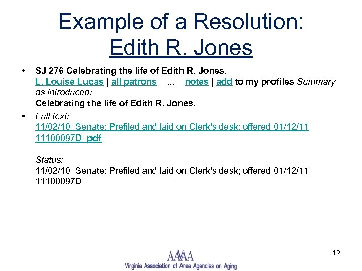 Example of a Resolution: Edith R. Jones • • SJ 276 Celebrating the life