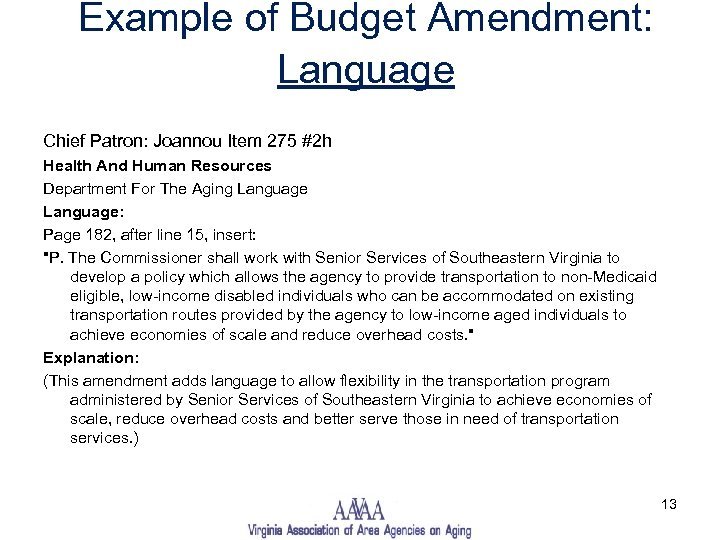 Example of Budget Amendment: Language Chief Patron: Joannou Item 275 #2 h Health And