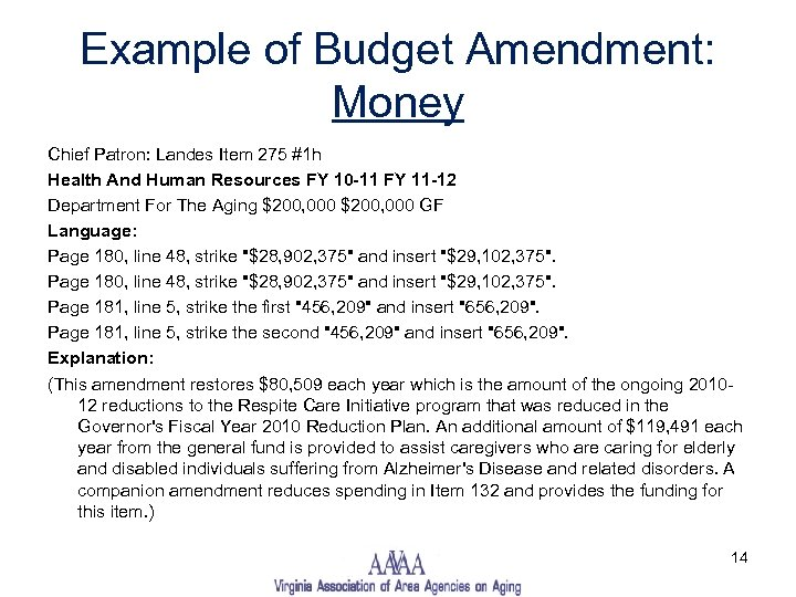 Example of Budget Amendment: Money Chief Patron: Landes Item 275 #1 h Health And