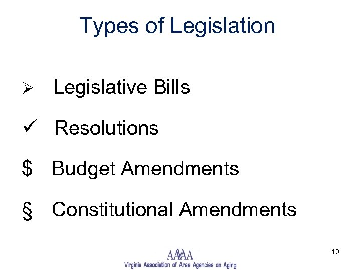 Types of Legislation Ø Legislative Bills ü Resolutions $ Budget Amendments § Constitutional Amendments