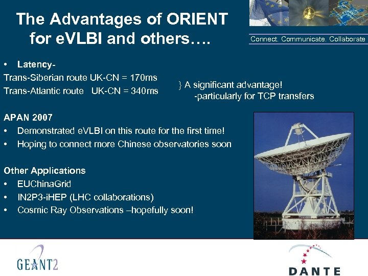 The Advantages of ORIENT for e. VLBI and others…. • Latency. Trans-Siberian route UK-CN
