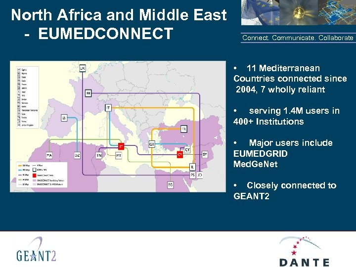 North Africa and Middle East - EUMEDCONNECT Connect. Communicate. Collaborate • 11 Mediterranean Countries